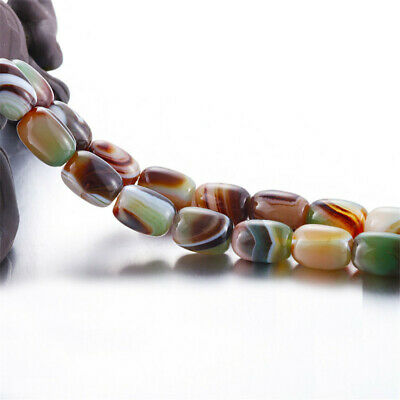1pcs Striped Agate Bucket Bead Loose Bead  Wholesale 15 inches Strand Charm Hole