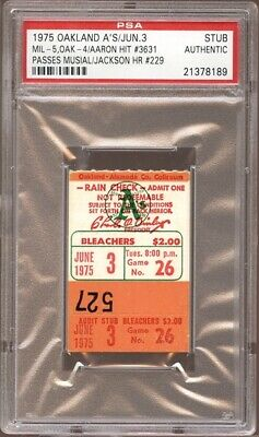 1975 PSA Ticket Hank Aaron Hit 3631 Tops Stan Musial Record Milwaukee Brewers