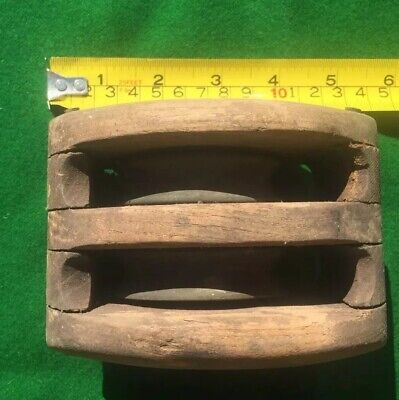 "Antique Wooden Maritime 6"" Pully"