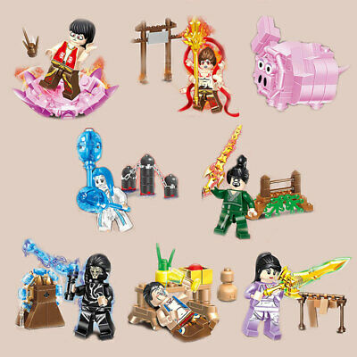 8pcs/set Chinese Ancient Heroes Boys Building Blocks Bricks Figures Models Toys