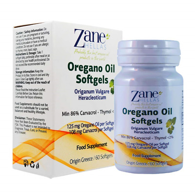 Zane Hellas Oregano Oil 60 Softgels. The Highest Concentration in the World. A