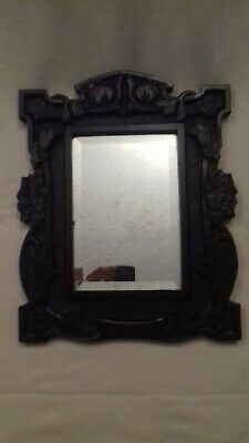 Victorian Art Nouveau hand carved wooden wall mirror