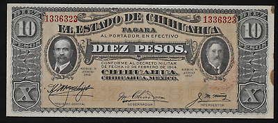 Mexico(1)Bank Note 10 Pesos 10.2.1914(1915) P S 535 A Almost Uncirculated