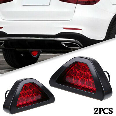 2x Universal 12 LED F1 Style Triangle Rear Stop Tail 3rd Brake Sporty Red Light