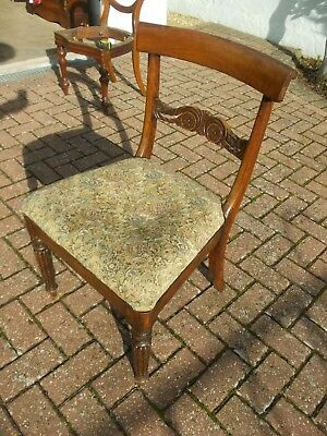 Antique William IV Carved Dining Chair Gillows Style Reeded Leg Georgian Regency