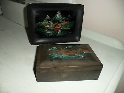 Vintage Chinese Black Lacquered Lidded Box & Matching Tray.