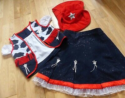 Girls 3-Part Fancy Costume Cowgirl (Skirt, Top & Hat) Size 6-8 yrs, Good Cond!