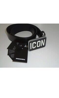 Dsquared Boys Icon Plaque Logo Black Leather  Belt. Bnwt