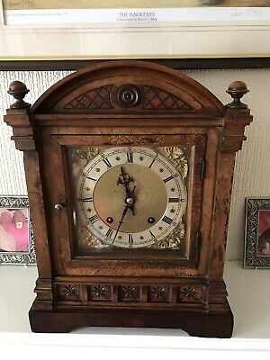 Stunning Walnut Cased W&H Time And Strike Mantle Clock Fully Restored