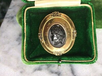 Black Onyx Gold Brass Resin Cameo Ornate Large Brooch Pin Vintage Antique Patina