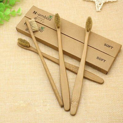 New 10Pcs Khaki Bamboo Toothbrush Wood HandleSoft Bristles For Adult Oral Care