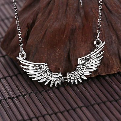 Fashion Women Angel Wing Charm Silver Plated Necklace Pendant Chain Jewelry Gift