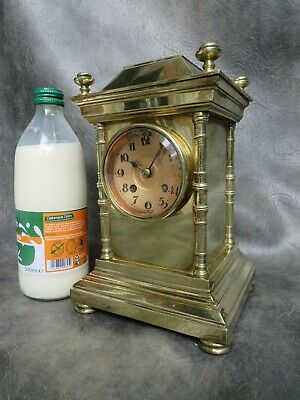 A NICE SMALL FRENCH BRASS CASED BELL STRIKE MANTLE CLOCK & KEY c1900 *SERVICED *