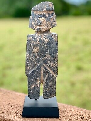 Very Large Authentic Pre Columbian Mezcala M-6 Standing Figure Aztec Mayan Stand