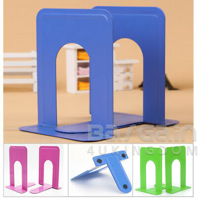 3x Pair Mixed Colour Heavy Duty Metal Bookends Book Ends 7.5'' Office Stationery