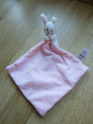 M&CO M & Co pink and white bunny rabbit Blankie Comforter Baby Hug Soft Toy