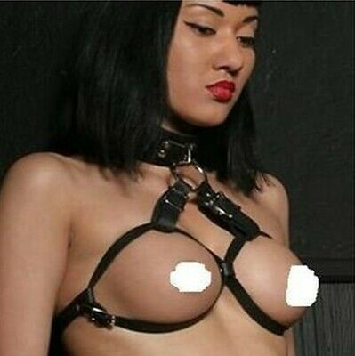 S&M BRA PVC Leather Look Busenhebe Goth OS Kunstleder BH Ouvert mit halsband