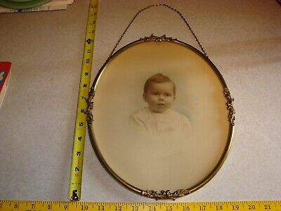 Antique Ornate Brass Glass Oval Brass Picture Frame w/ Baby Vtg 1920's
