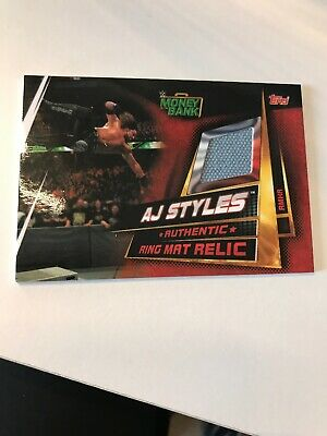 Topps WWE Slam Attax Universe AJ Styles Money In The Bank 2018 Mat Relic