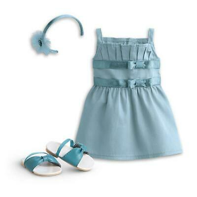 New American Girl Double Bow Teal Dress Outfit~Tenney~Kanani~Blaire~Grace~Nanea