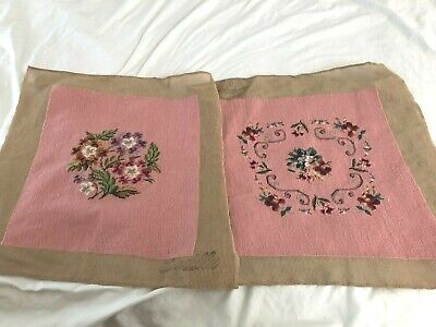 Pair Of Vintage Pink Floral  Hand Stitched Wool Needlepoint Tapestries Unused
