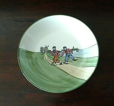 """Antique 8 1/4"""" Hand Painted GS Zell Germany Bowl Dutch Windmills Sea Land 2 Boys"""
