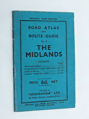 Geographia Ltd 1920s Road Atlas and Route Guide no 3 The Midlands 1920s