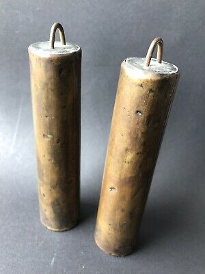ANTIQUE BRASS CASED LEAD CLOCK WEIGHTS - 2Lb 12Oz Each Great Patina Very Old