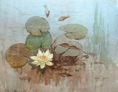 SYDNEY VALE FRSA - A FISH POND WITH WATER LILY - 20th C VINTAGE WATERCOLOUR