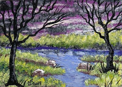ACEO Original Violet clouds with tree's rocks and creek by artistnelson