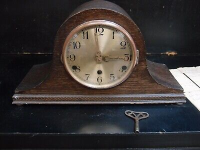 ANTIQUE 1930's OAK CASED MECHANICAL MANTLE CLOCK WESTMINSTER CHIMES PROJECT