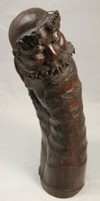 Asian Dark Wood Carving Poss Bamboo Root Chinese Bearded Man Curved Phallic