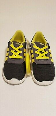 Adidas Boys Yellow And Grey Lite Racer INF Running Shoes Sizes 7K, 9K, 10K