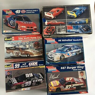 Lot of 6 Model Car Kits Nascar Funny Car Race Car Partially Started Revell Monog