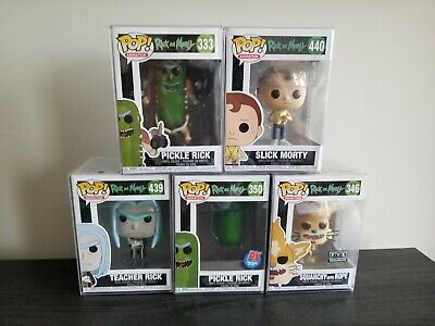 Rick & Morty Funko Pop! Lot Pickle Rick Squanchy Teacher Slick Morty w/Protector