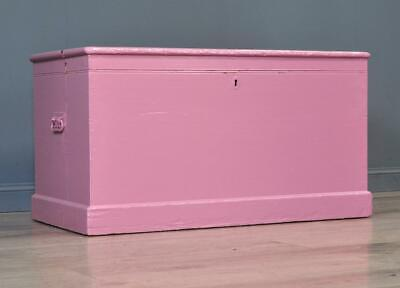 Attractive Large Antique Victorian Painted Pine Kist Chest Trunk Blanket Toy Box
