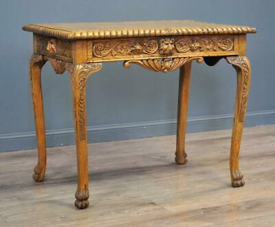 Attractive Antique Victorian Lion Carved Light Oak Centre Hall Side Table