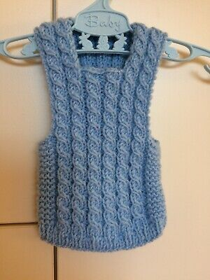Hand Knitted Vest - For Premie Baby - in Light Blue