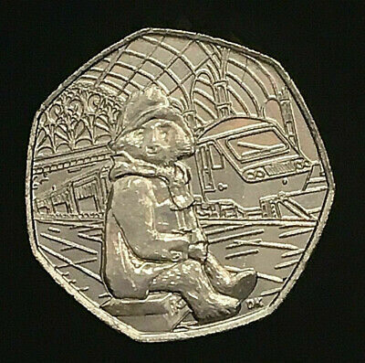 Paddington Bear at the station - sitting - 50p 2018 Fifty Pence coin x 1 in VGC