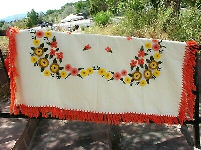 """VTG Mid Century WOOL TABLECLOTH Embroidered FLOWER Orange Green Yellow 52"""" x 66"""""""