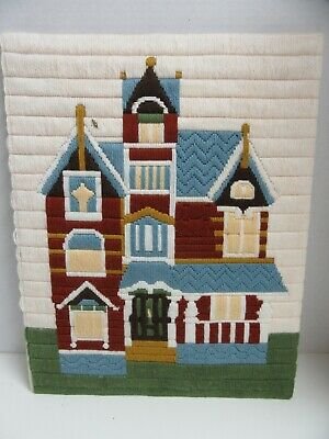 Finished Long Stitch Needlepoint Embroidery Victorian House Completed 17x21 Home