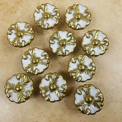 Amerock French Provincial Gold White Round Floral Cabinet Drawer Knobs Lot of 10