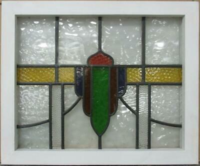 "OLD ENGLISH LEADED STAINED GLASS WINDOW Colorful Band & Sweep 21.5"" x 17.75"""