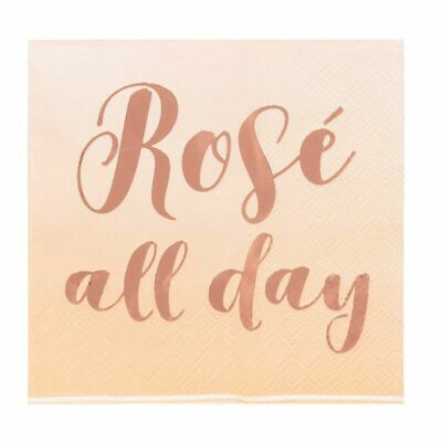 Cocktail Napkins 50-Pack Rose All Day in Rose Gold Foil Disposable Paper Napkins
