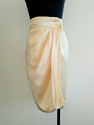 Vintage retro Ivory Off White Silk Wrap Skirt S AU 8