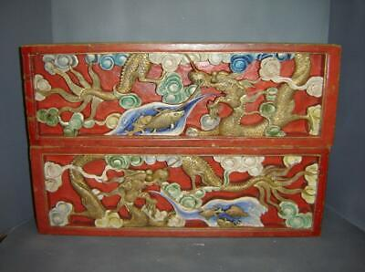 Antique Chinese Pair Carved Wood Dragons Wall Plaques Gold Gilt & Enamel Paint.