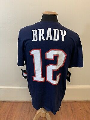 NEW NWT Tom Brady New England Patriots Nike T Shirt Jersey Men's Size Large