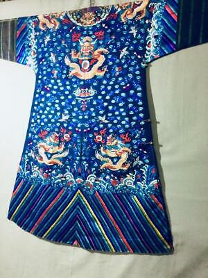 Antique Chinese silk embroidered summer dragon robe, 衲纱吉服 blue, 5-claw dragons