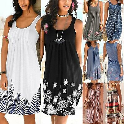 Plus Size Women Sleeveless Boho Floral Midi Dress Ladies Summer Holiday Sundress