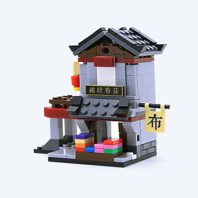 Mini Street View Chinese Ancient Cloth Shop Building Blocks Bricks Figures Toys